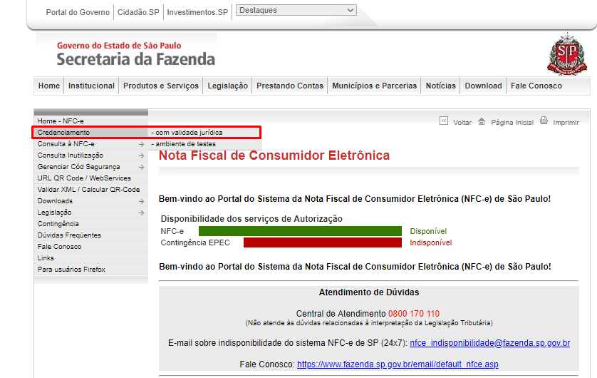 credenciamento nfce sp